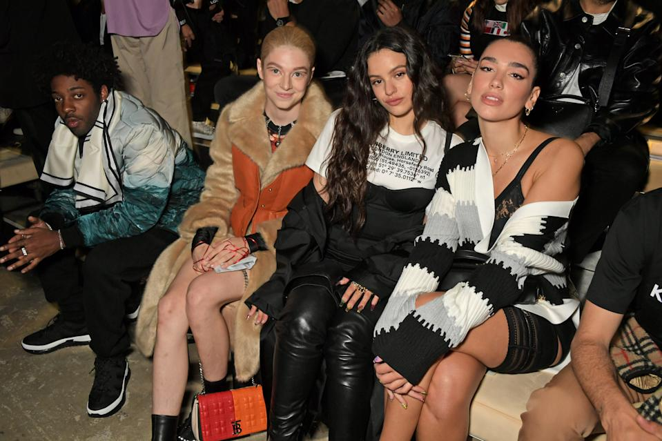 LONDON, ENGLAND - SEPTEMBER 16:  (L to R)  Brent Faiyaz, Hunter Schafer, Rosalia and Dua Lipa attend the Burberry September 2019 show during London Fashion Week, on September 16, 2019 in London, England.  (Photo by David M. Benett/Dave Benett/Getty Images for Burberry)