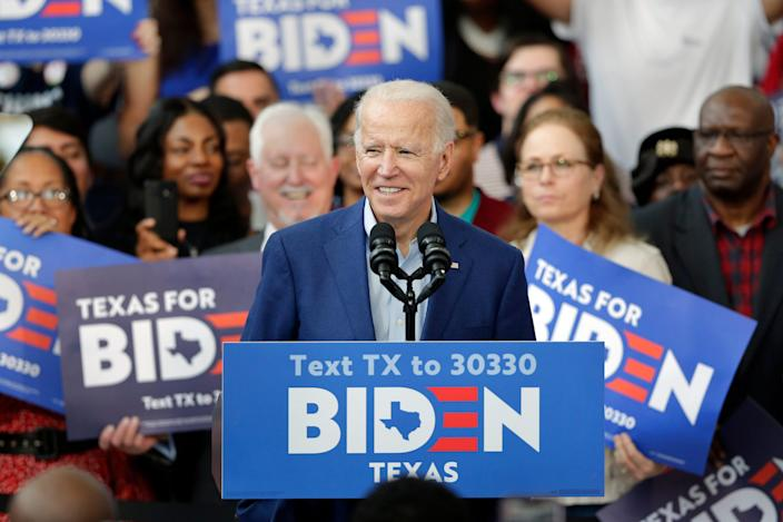 Democratic presidential candidate Joe Biden campaigns in Houston on March 2.