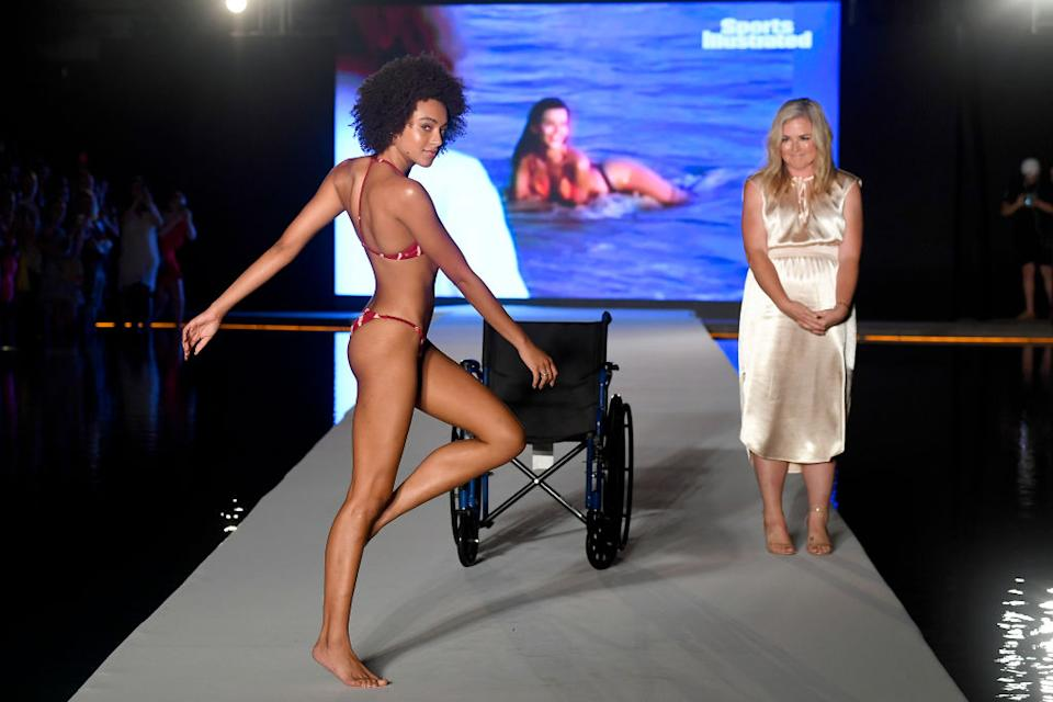 Djaniel suffers from a condition that makes it difficult to move and walk but was able to briefly stand at the end of the runway [Photo: Getty]