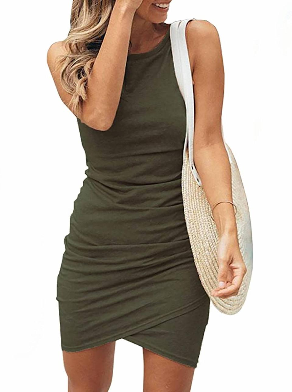 """This ruched mini number is basic in the best way. $9, Amazon. <a href=""""https://www.amazon.com/BTFBM-Casual-Sleeveless-Bodycon-Dresses/dp/B08CTWJGFC/"""" rel=""""nofollow noopener"""" target=""""_blank"""" data-ylk=""""slk:Get it now!"""" class=""""link rapid-noclick-resp"""">Get it now!</a>"""