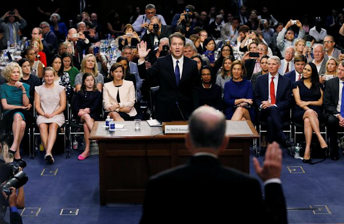 Supreme Court nominee Judge Brett Kavanaugh is sworn in by Senate Judiciary Committee Chairman Chuck Grassley during a confirmation hearing on Capitol Hill in Washington, D.C., Sept. 4. (Photo: Jim Bourg/Reuters)