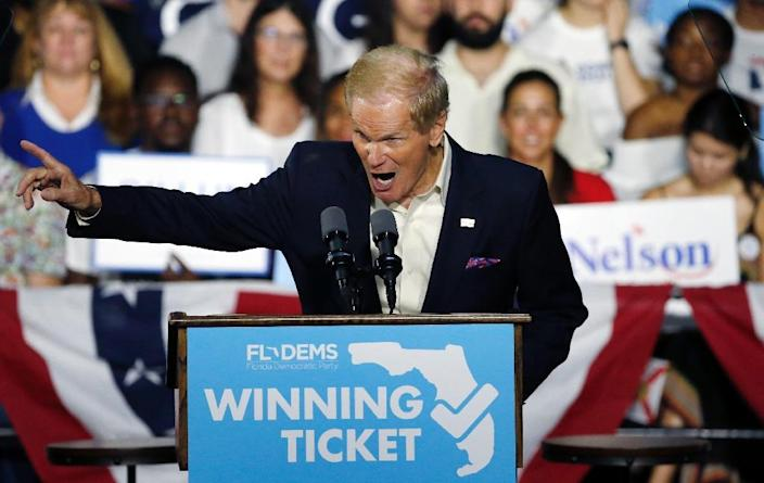 """Florida's Bill Nelson is fighting to keep his US Senate seat and has accused his Republican rival Rick Scott, the outgoing governor, of wanting to stop a """"complete and accurate accounting"""" of votes in the state (AFP Photo/RHONA WISE)"""