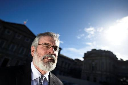 Sinn Fein president Gerry Adams poses for a photograph after an interview with Reuters at Government buildings in Dublin, Ireland March 9, 2017. REUTERS/Clodagh Kilcoyne