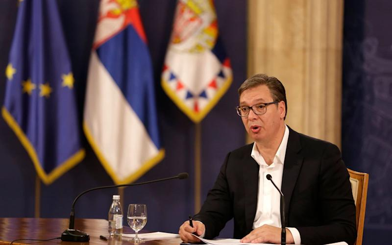 Aleksandar Vucic, the Serbian president, has been forced to u-turn on a new Belgrade lockdown after protests across the capital - Shutterstock/ANDREJ CUKIC/EPA-EFE/Shutterstock