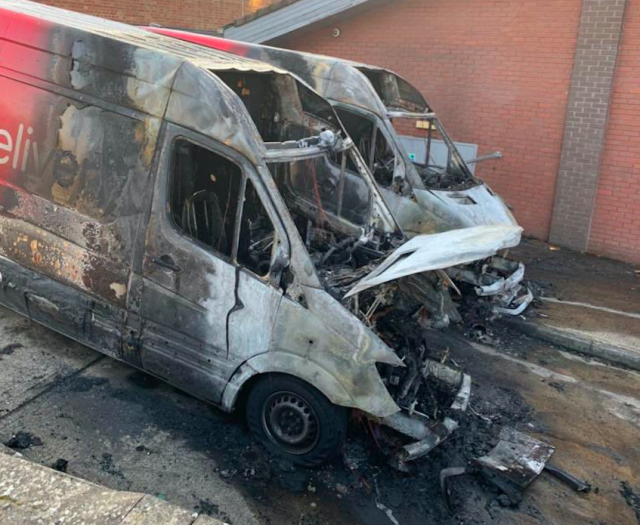 Two Iceland supermarket vans were destroyed in arson attacks hours after Britons were told to stay at home. (PA)