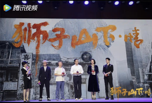 Myolie (second from right) with co-star Aarif Rahman Lee (right) and producer Lee Kwok Lap (second from left) at the press conference a few days ago