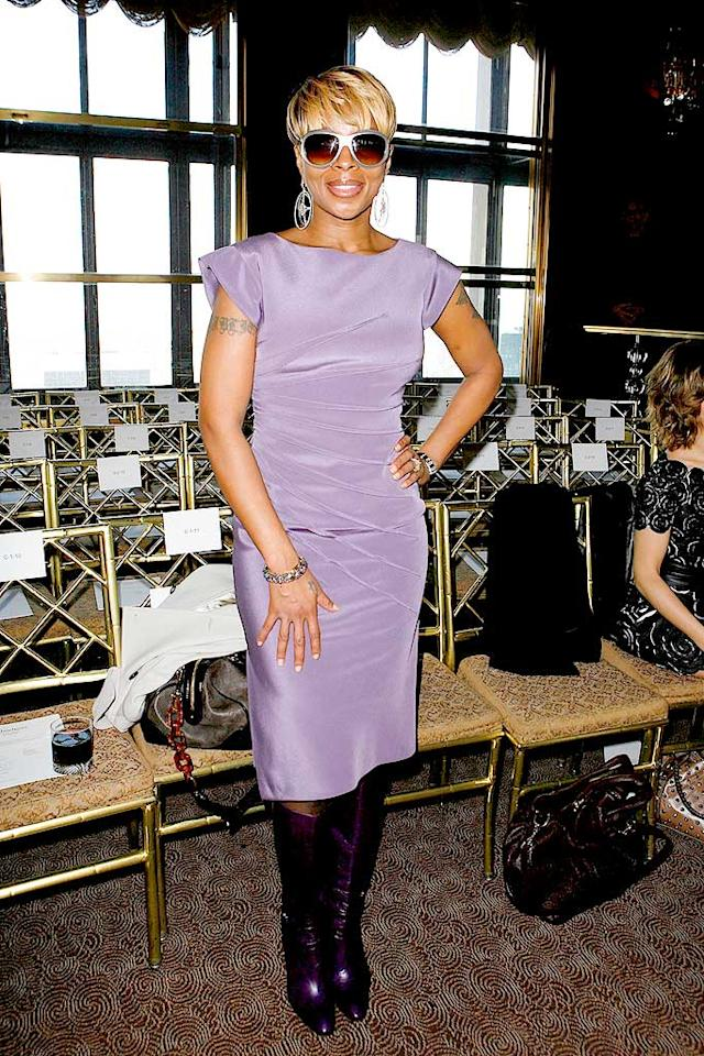 "Mary J. Blige rocked a lilac Malandrino dress and the perfect pair of eggplant boots at the fashion designer's recent runway show. Amy Sussman/<a href=""http://www.gettyimages.com/"" target=""new"">GettyImages.com</a> - February 19, 2009"