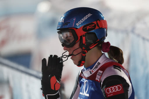 Slovakia's Petra Vlhova gets to the finish area after completing an alpine ski, women's World Cup slalom, in Semmering, Austria, Tuesday, Dec. 29, 2020. (AP Photo/Gabriele Facciotti)