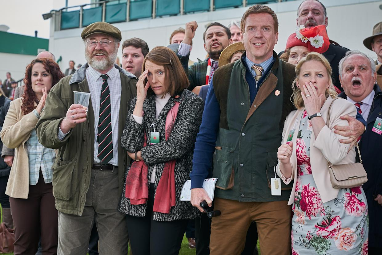 Owen Teale, Toni Collette, Damian Lewis and Joanna Page in Dream Horse (Warner Bros/PA)