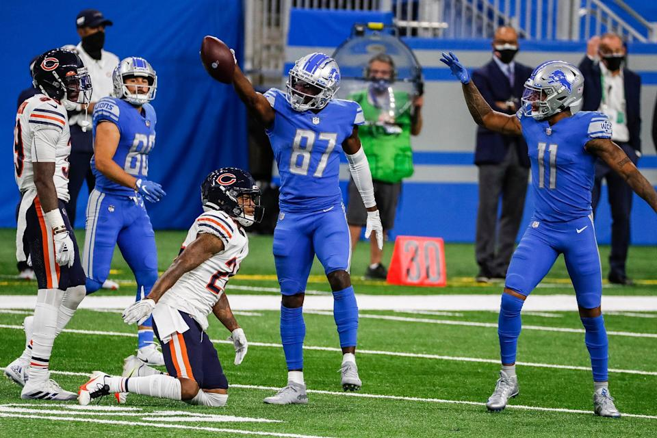 Detroit Lions receiver Quintez Cephus (87) celebrates a first down against the Chicago Bears during the second half at Ford Field, Sunday, Sept. 13, 2020.