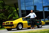 Managing Director of Lotus, Matt Windle stands with a Lotus Esprit car at the company's plant in Hethel