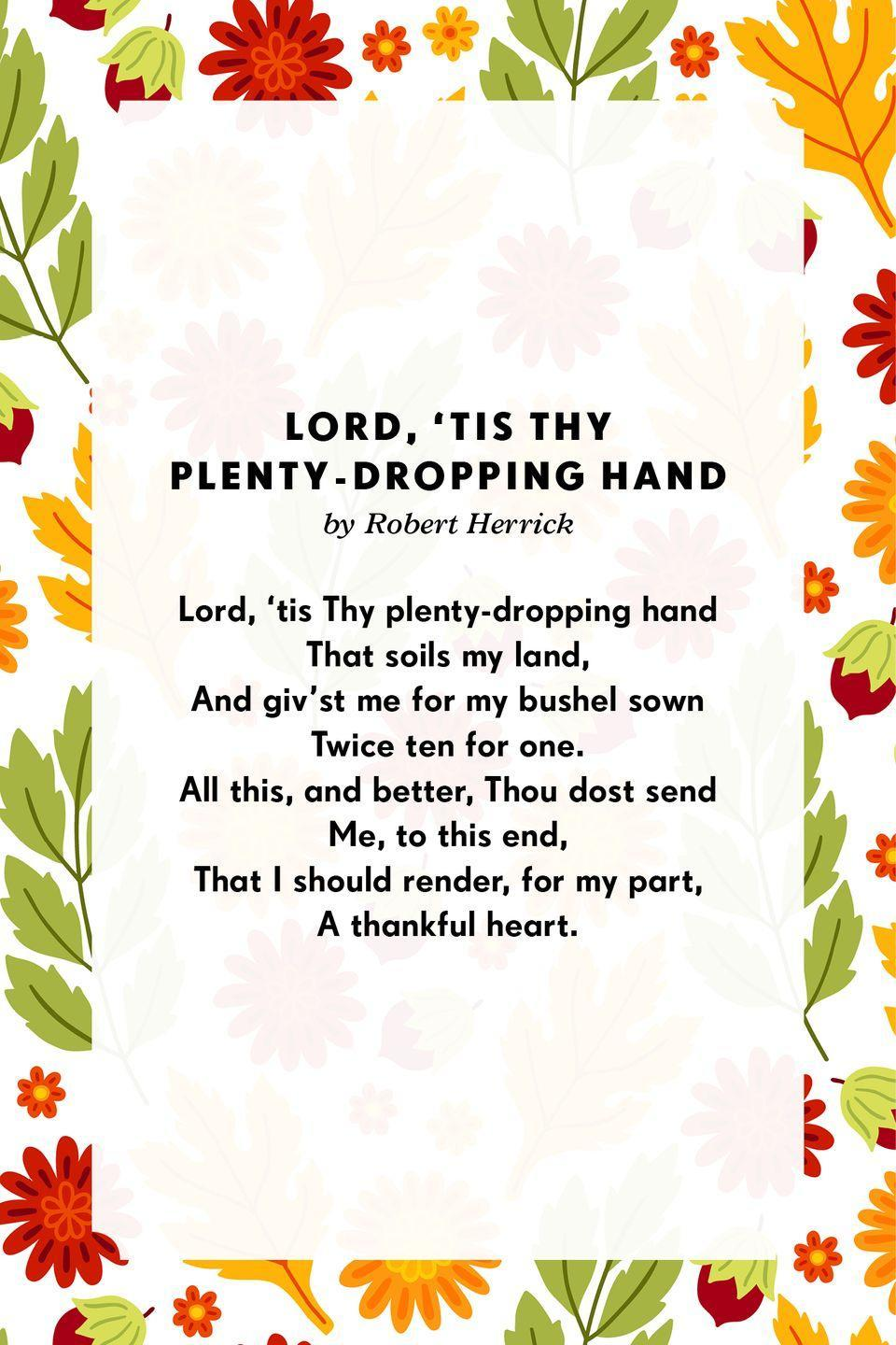 <p><strong>Lord, 'tis Thy plenty-dropping hand</strong></p><p>Lord, 'tis Thy plenty-dropping hand<br>That soils my land,<br>And giv'st me for my bushel sown<br>Twice ten for one.<br>All this, and better, Thou dost send<br>Me, to this end,<br>That I should render, for my part,<br>A thankful heart.</p>