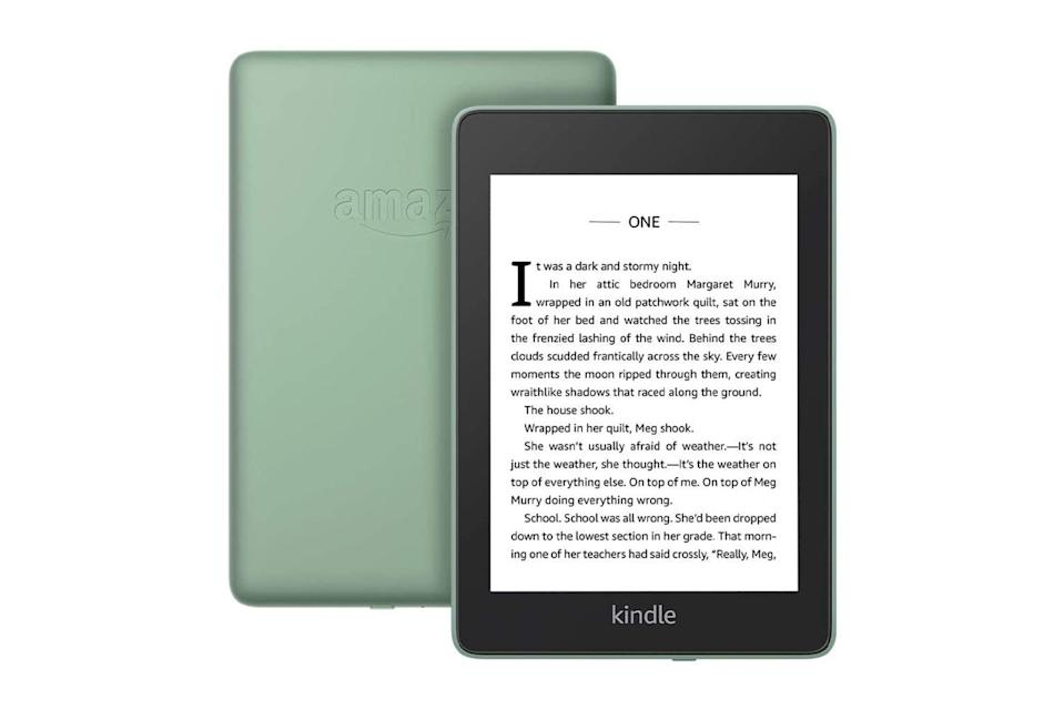"$130, Amazon. <a href=""https://www.amazon.com/All-new-Kindle-Paperwhite-Waterproof-Storage/dp/B08412B9N5?th=1"" rel=""nofollow noopener"" target=""_blank"" data-ylk=""slk:Get it now!"" class=""link rapid-noclick-resp"">Get it now!</a>"