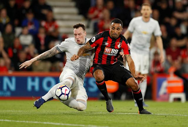 "Soccer Football - Premier League - AFC Bournemouth vs Manchester United - Vitality Stadium, Bournemouth, Britain - April 18, 2018 Bournemouth's Callum Wilson in action with Manchester United's Phil Jones Action Images via Reuters/John Sibley EDITORIAL USE ONLY. No use with unauthorized audio, video, data, fixture lists, club/league logos or ""live"" services. Online in-match use limited to 75 images, no video emulation. No use in betting, games or single club/league/player publications. Please contact your account representative for further details."