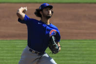 Chicago Cubs' Yu Darvish throws in the first inning during a baseball game against the Cincinnati Reds in Cincinnati, Saturday, Aug. 29, 2020. (AP Photo/Aaron Doster)