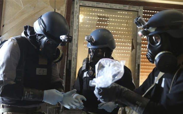 OPCW inspectors in Syria assess suspected chemical material - Credit: Reuters