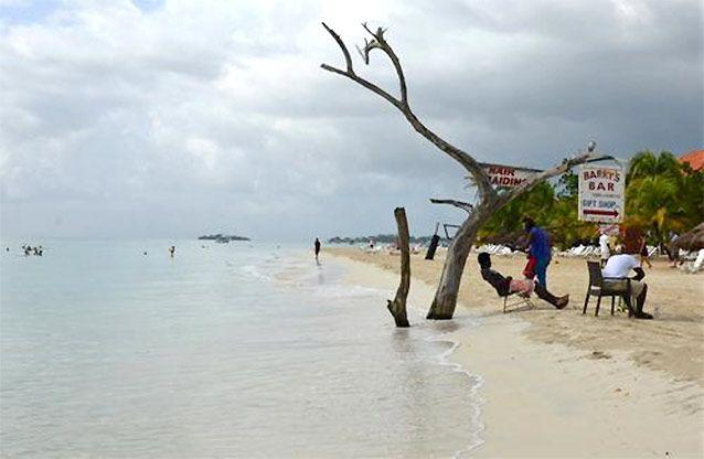 The tide gnaws away at a badly eroding patch of Seven Mile Beach in Negril. Source: AP Photo