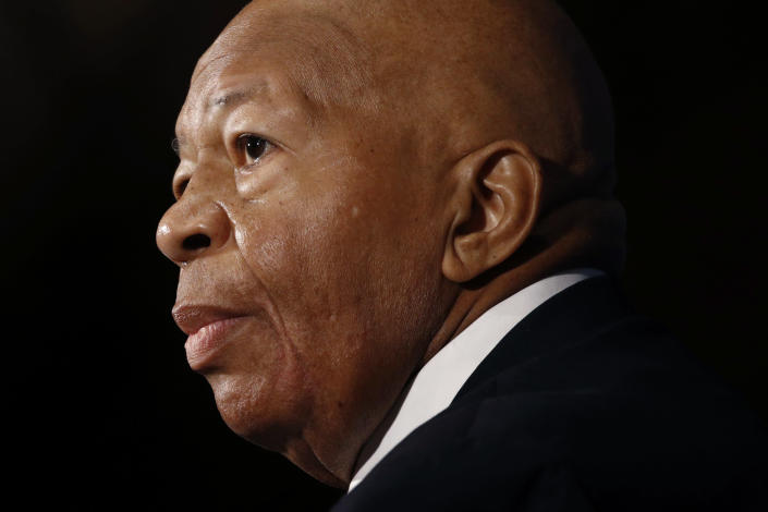 FILE - In this Aug. 7, 2019, file photo, Rep. Elijah Cummings, D-Md., speaks during a luncheon at the National Press Club in Washington. Cummings died from complications of longtime health challenges, his office said in a statement on Oct. 17, 2019. (AP Photo/Patrick Semansky, File)