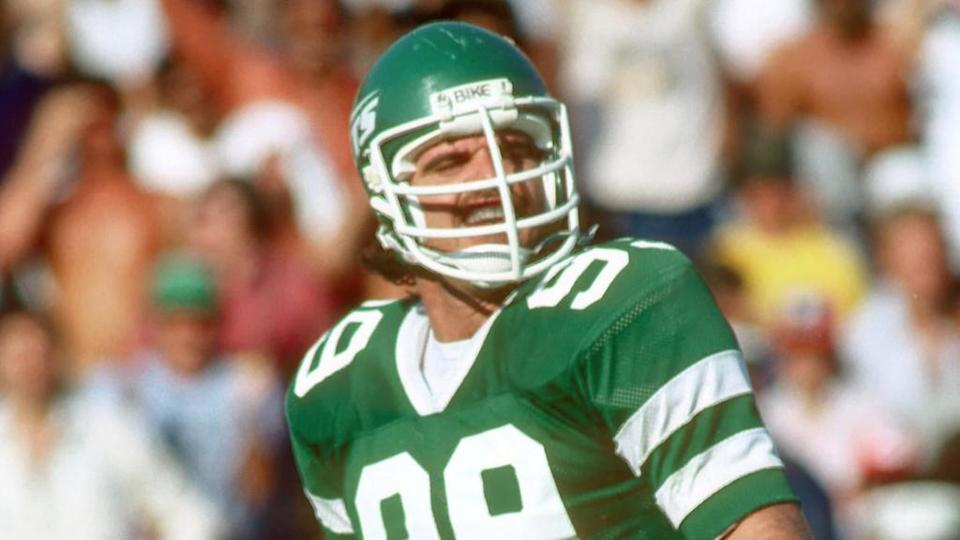 Dec 18, 1982; Miami, FL, USA; FILE PHOTO; New York Jets defensive end #99 Mark Gastineau in action against the Miami Dolphins at the Orange Bowl. The Dolphins defeated the Jets 20-19.