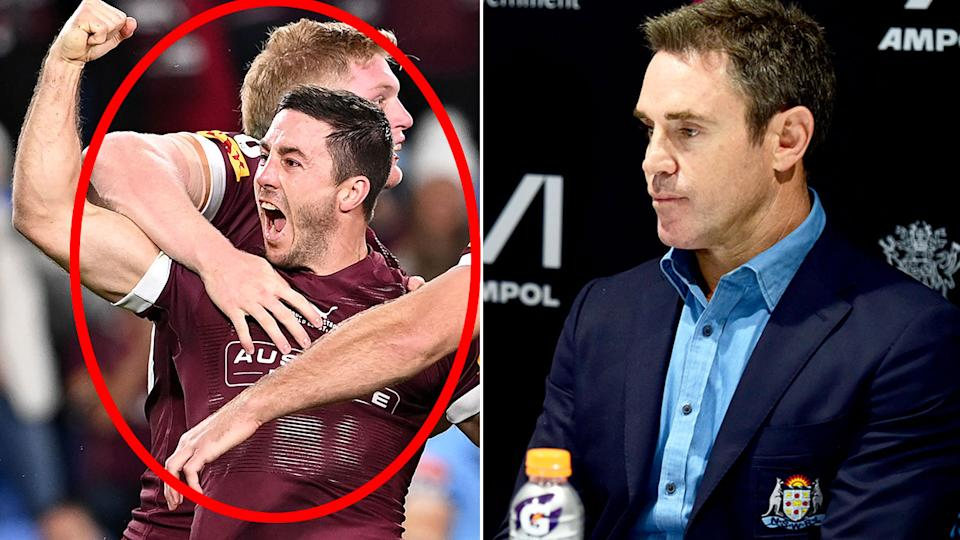 Seen here, Ben Hunt celebrates on the left as NSW coach Brad Fittler looks solemn on the right.