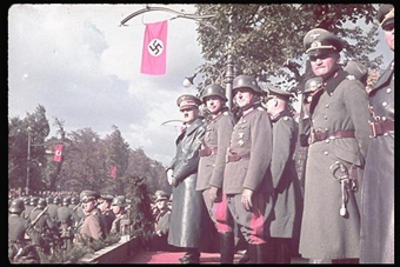 German victory parade in Warsaw. Hitler, two unidentifieds, Keitel behind them, and General Blaskowitz, and General Kesselring. (Photo by Hugo Jaeger/Timepix/Time Life Pictures/Getty Images)