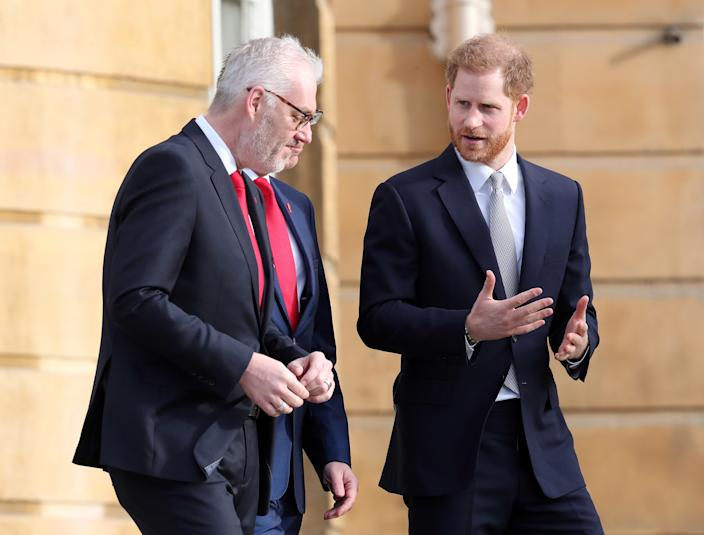Prince Harry, Duke of Sussex, has stayed in London to host the Rugby League World Cup 2021 today while Duchess Meghan remains in Vancouver Island with baby Archie. [Photo: Getty]