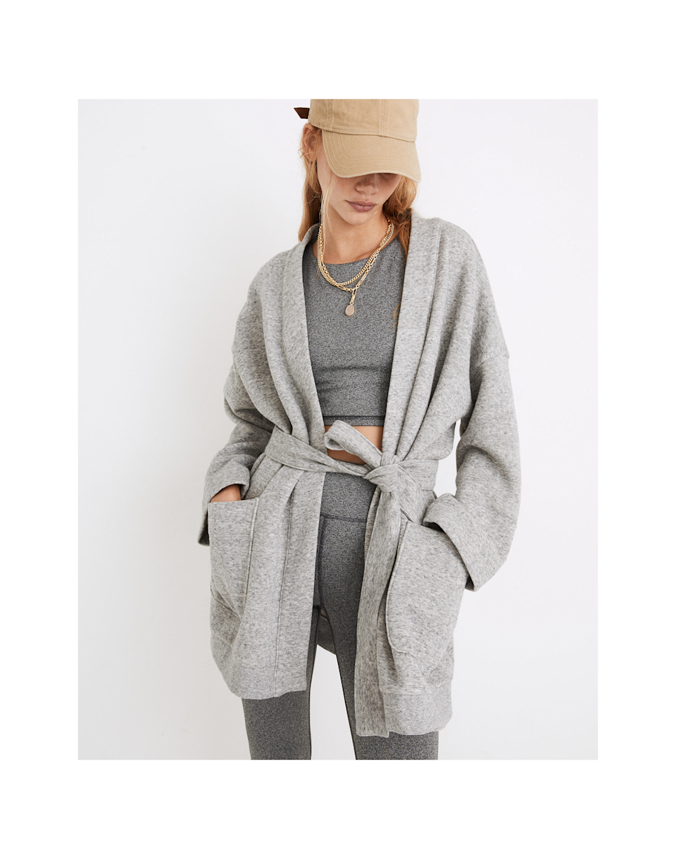 """<br><br><strong>MWL</strong> Betterterry Wrap Sweatshirt Jacket, $, available at <a href=""""https://go.skimresources.com/?id=30283X879131&url=https%3A%2F%2Fwww.madewell.com%2Fmwl-betterterry-wrap-sweatshirt-jacket-NB238.html"""" rel=""""nofollow noopener"""" target=""""_blank"""" data-ylk=""""slk:Madewell"""" class=""""link rapid-noclick-resp"""">Madewell</a>"""