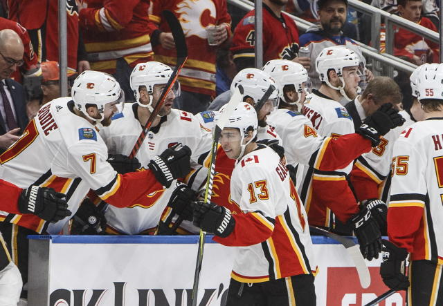 Calgary Flames' Johnny Gaudreau (13) celebrates a goal the Edmonton Oilers during the second period of an NHL hockey game in Edmonton, Alberta, Saturday, Jan. 19, 2019. (Jason Franson/The Canadian Press via AP)