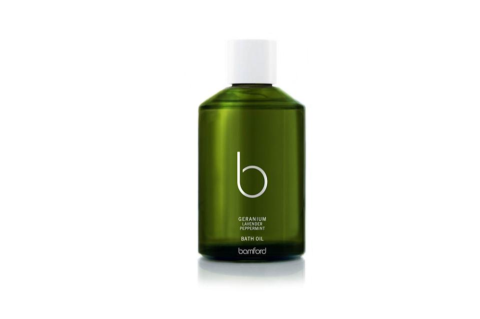 """<p>Skin-softening apricot and sweet almond oils are blended with organically sourced geranium, lavender, peppermint and tonka for an uplifting and calming bath soak. Perfect for those in need of a de-stressing treat. KP</p><p>£45, <a href=""""https://www.bamford.com/uk/products/geranium-bath-oil/"""" rel=""""nofollow noopener"""" target=""""_blank"""" data-ylk=""""slk:Bamford"""" class=""""link rapid-noclick-resp"""">Bamford</a></p>"""