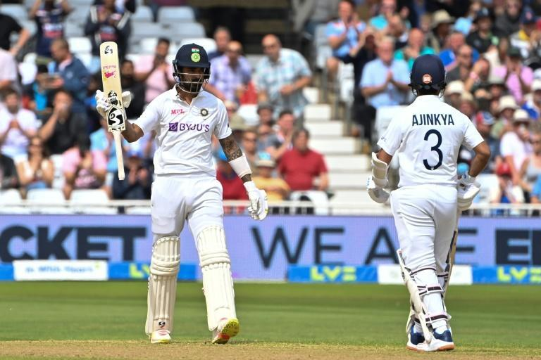 Half-century - India's KL Rahul (L) acknowledges his fifty in the first Test against England at Trent Bridge