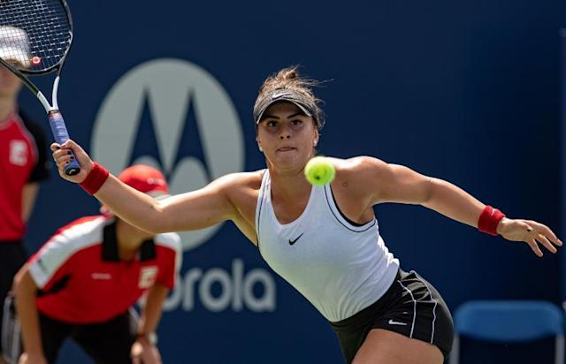 Bianca Andreescu of Canada in action against Serena Williams of the US during the finals of the Rogers Cup women's tennis tournament in Toronto, Canada, 11 August 2019. (Tenis) EFE/EPA/WARREN TODA