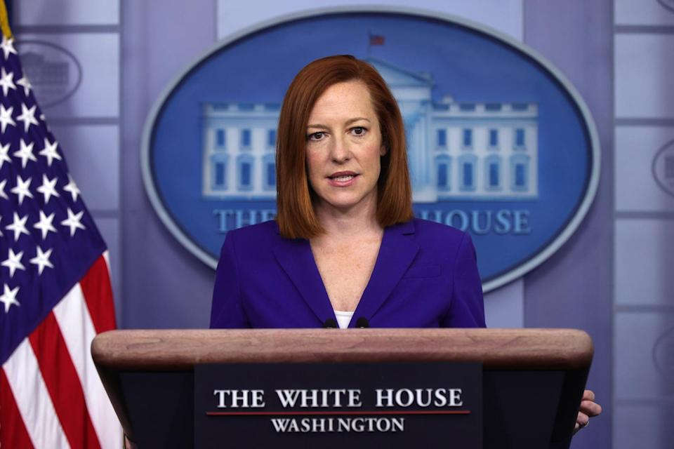 WASHINGTON, DC - MARCH 08:  White House Press Secretary Jen Psaki speaks during a daily press briefing at the James Brady Press Briefing Room of the White House March 8, 2021 in Washington, DC. Psaki held a briefing to answer questions from members of the press. (Photo by Alex Wong/Getty Images)