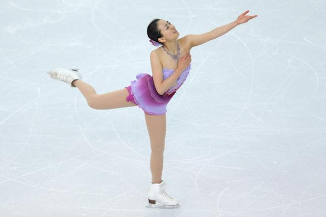 SOCHI, RUSSIA - FEBRUARY 08: Mao Asada of Japan competes in the Figure Skating Team Ladies Short Program during day one of the Sochi 2014 Winter Olympics at Iceberg Skating Palace on February 8, 2014 in Sochi, Russia. (Photo by Matthew Stockman/Getty Images)