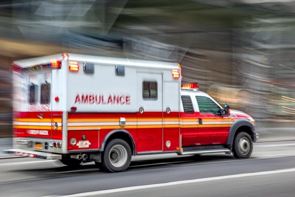 ambulance on emergency car in motion