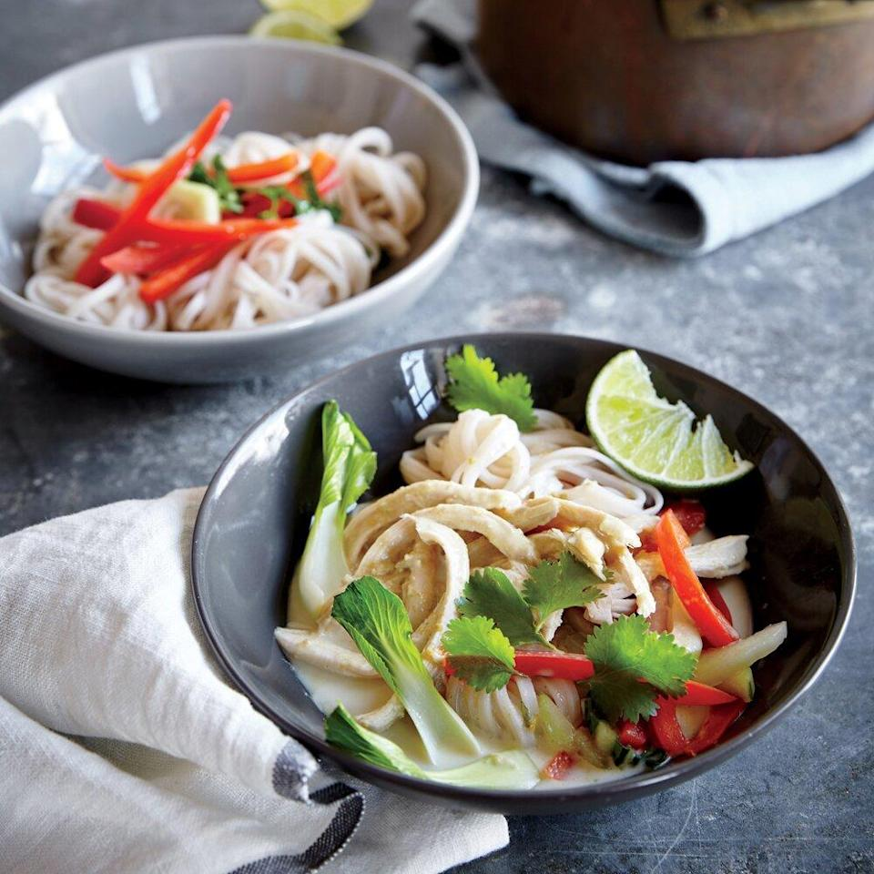 "<p>Consider this your go-to recipe for curry in a hurry. Feel free to add whatever veggies you have on hand into the mix--this versatile recipe is great for mixing and matching to make your own custom dish.</p> <p><a href=""https://www.myrecipes.com/recipe/thai-green-curry-chicken-0"" rel=""nofollow noopener"" target=""_blank"" data-ylk=""slk:Thai Green Curry Chicken Recipe"" class=""link rapid-noclick-resp"">Thai Green Curry Chicken Recipe</a></p>"