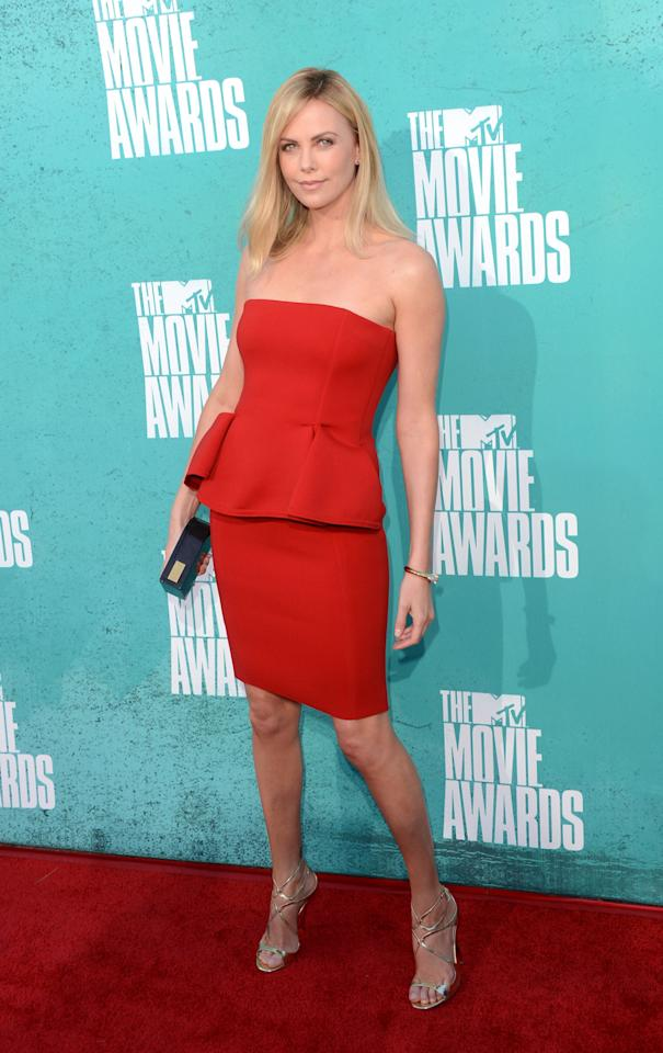 UNIVERSAL CITY, CA - JUNE 03:  Actress Charlize Theron arrives at the 2012 MTV Movie Awards held at Gibson Amphitheatre on June 3, 2012 in Universal City, California.  (Photo by Jason Merritt/Getty Images)