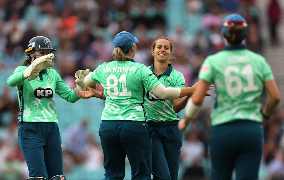 Oval Invincibles celebrated reaching the final (Steven Paston/PA) (PA Wire)