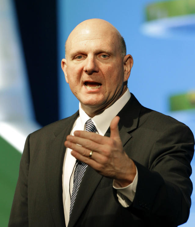FILE - In this Tuesday, May 22, 2012, file photo, Microsoft CEO Steve Ballmer delivers a speech during a Seoul Digital Forum in Seoul, South Korea. Microsoft CEO Steve Ballmer can't afford to be wrong about Windows 8. If the dramatic overhaul of the Windows operating system flops, it will reinforce perceptions that Microsoft is falling behind other technology giants as the world moves on to smartphones, tablets and other sleek devices from Apple, Google and Amazon. If Ballmer is right, Windows 8 will show that the world's largest software maker still has the technological chops and marketing muscle to shape the future of computing. (AP Photo/Lee Jin-man)