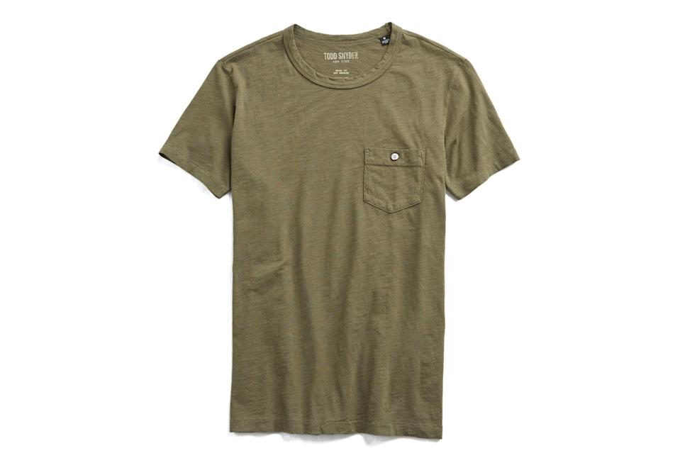 """$68, Todd Snyder. <a href=""""https://www.toddsnyder.com/collections/t-shirts/products/made-in-l-a-short-sleeve-tee-olive"""" rel=""""nofollow noopener"""" target=""""_blank"""" data-ylk=""""slk:Get it now!"""" class=""""link rapid-noclick-resp"""">Get it now!</a>"""