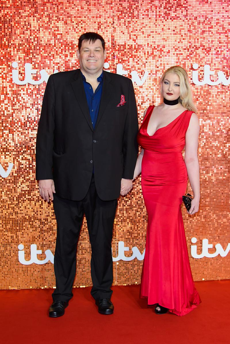 LONDON, ENGLAND - NOVEMBER 09: Mark Labbett and Katie Labbett arriving at the ITV Gala held at the London Palladium on November 9, 2017 in London, England. (Photo by Joe Maher/FilmMagic)
