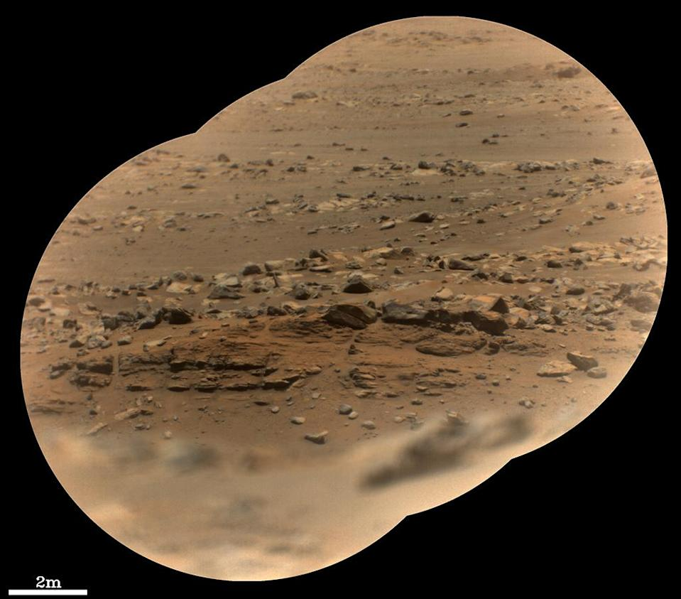 """A layered outcrop (just below centre of image) nicknamed """"Artuby"""""""