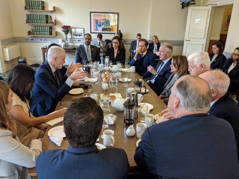 Nancy Pelosi 'discusses antisemitism' with Jeremy Corbyn at meeting during UK trip
