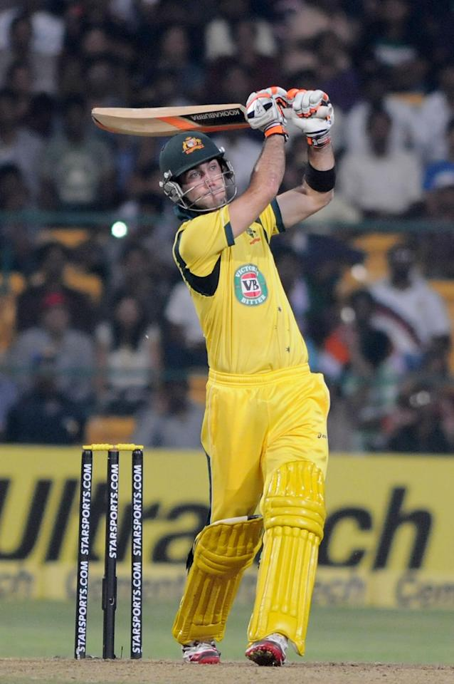 Australian player Glenn Maxwell plays a shot during the 7th ODI between India and Australia played at Chinnaswamy Stadium in Bangalore on Nov.2, 2013. (Photo: IANS)
