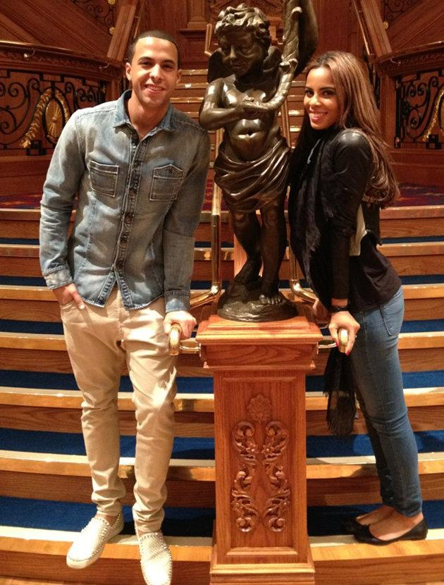 Celebrity photos: The Saturdays' Rochelle Wiseman and fiancée Marvin Humes went to the new Titanic museum and posed for this cute picture with the statue from the film. What a cute couple.