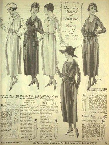 <p>Progressing into the 1920s, maternity style relaxed a tad. Softer silhouettes with draped and belted waistlines were the early signs that confining garb was on its way out.</p>