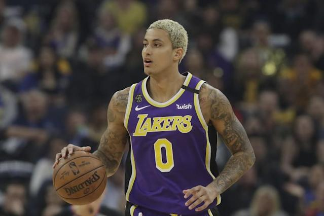 """Lakers forward Kyle Kuzma has expressed skepticism about an electronic health device the NBA plans to make available to players in Orlando. <span class=""""copyright"""">(Jeff Chiu / Associated Press)</span>"""