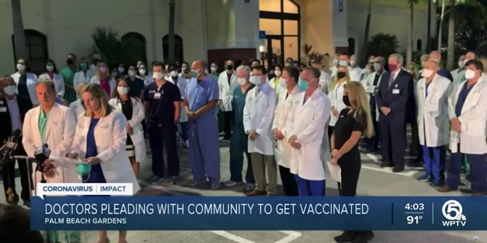 Florida doctors during a COVID-19-related walkout.