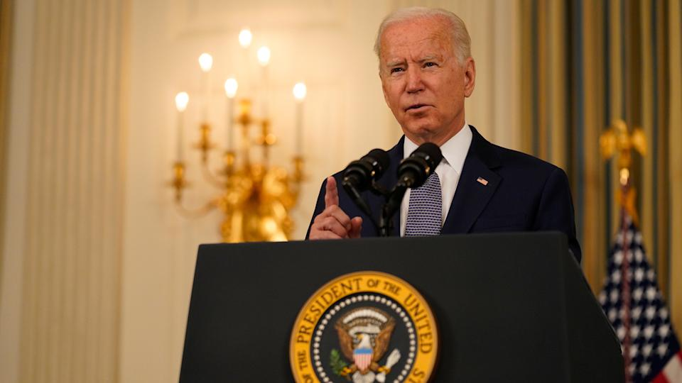 President Joe Biden speaks in the State Dining Room of the White House in Washington, D.C., U.S., on Friday, Sept. 3, 2021. (Ting Shen/Bloomberg via Getty Images)