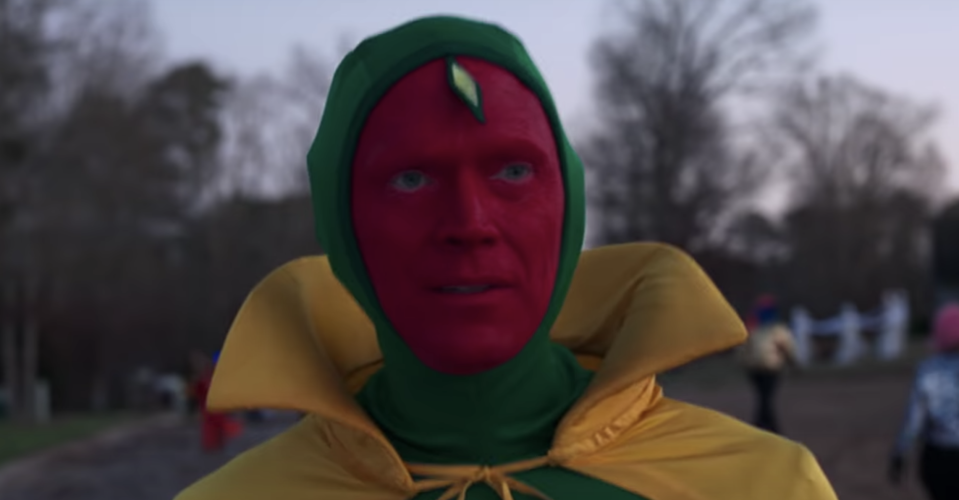 Paul Bettany models a homemade Halloween version of The Vision's comic book costume in the latest episode of 'WandaVision' (Photo: Marvel Studios/YouTube)