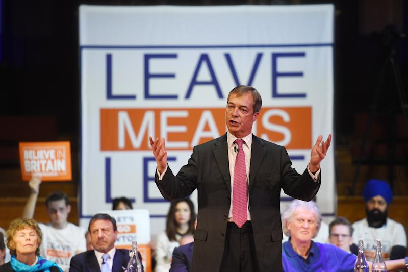 Nigel Farage speaking at a Leave Means Leave rally at Central Hall in London.